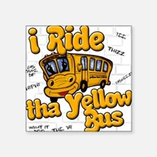 Yellow bus ridah Square Sticker