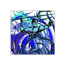 Poseidon Ocean Flames Square Sticker