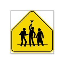 Beer Bong Road Sign Square Sticker