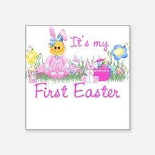 1st Easter Baby! Pink First Easter Square Sticker