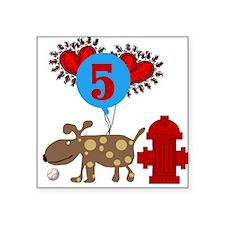 Puppy 5th Birthday Square Sticker