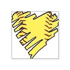Softball Heart Square Sticker