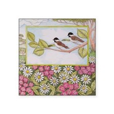 Chickadees and Daisies Square Sticker