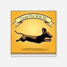 Flying Wiener Dog Square Sticker