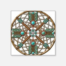 Turquoise Copper Dreamcatcher Square Sticker