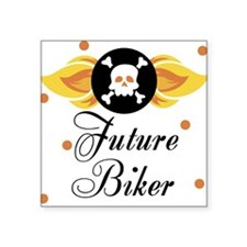 Future Biker Skull Baby Square Sticker