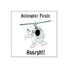Helicopter Pirate Pilot Square Sticker