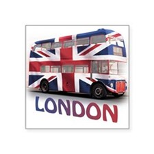 London Bus with Union Jack an Square Sticker