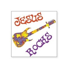 Jesus Rocks with Guitar Square Sticker