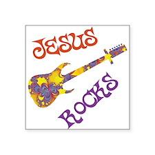 Jesus Rocks with Guitar Square Sticker