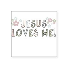 Jesus Loves Me Square Sticker