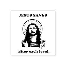Jesus saves Gaming Square Sticker