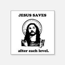 Jesus saves Gaming Square Sticker
