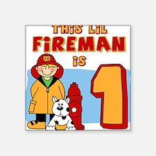 Fireman First Birthday Square Sticker