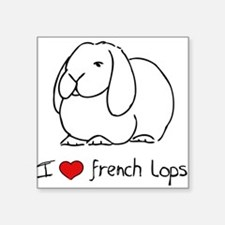 I Love French Lops Square Sticker