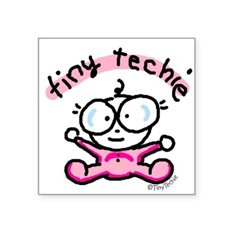 Tiny Techie Geek Baby Creeper Square Sticker