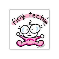 Tiny Techie Geek Baby Creeper Square Sticker