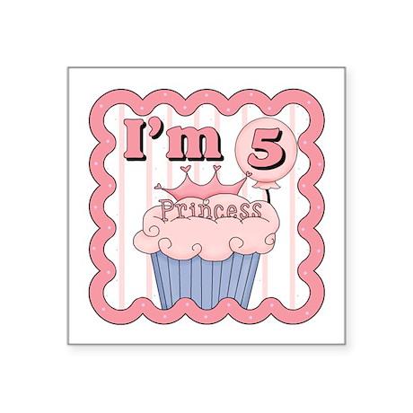 5th Birthday Princess Cupcake Square Sticker
