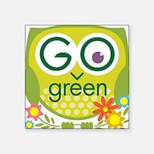 Go Green Owl Square Sticker