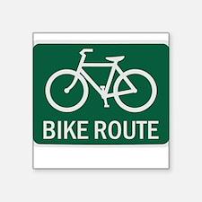 Bike Route Road Sign Square Sticker