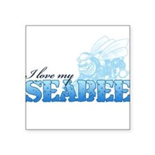 I Love My Seabee Square Sticker