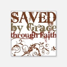 Saved by Grace Square Sticker