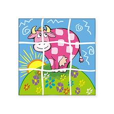 Pink Cow Puzzle Pet Square Sticker