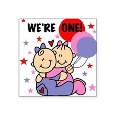 Twin Girls We're One Square Sticker