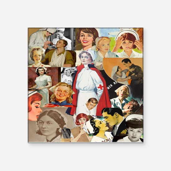 V intage Nurse CollageSquare Sticker