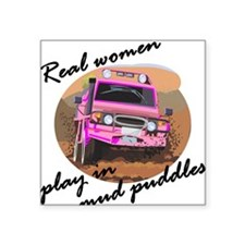 Real women play in mud puddle Square Sticker