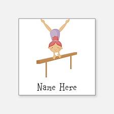 gymnast on beam Square Sticker