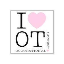 I Heart OT - Women's Colored Square Sticker