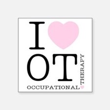 I Heart OT - Women's Colored Square Sticker