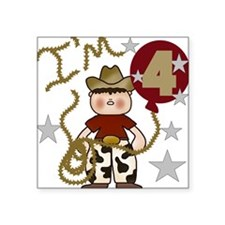 Cowboy 4th Birthday Square Sticker