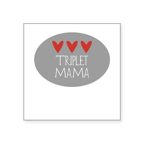 Triplet Mama Hearts Square Sticker