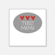 Triplet Mama Hearts Square Sticker