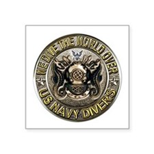 US Navy Diver Metal Square Sticker