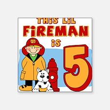 Fireman 5th Birthday Square Sticker