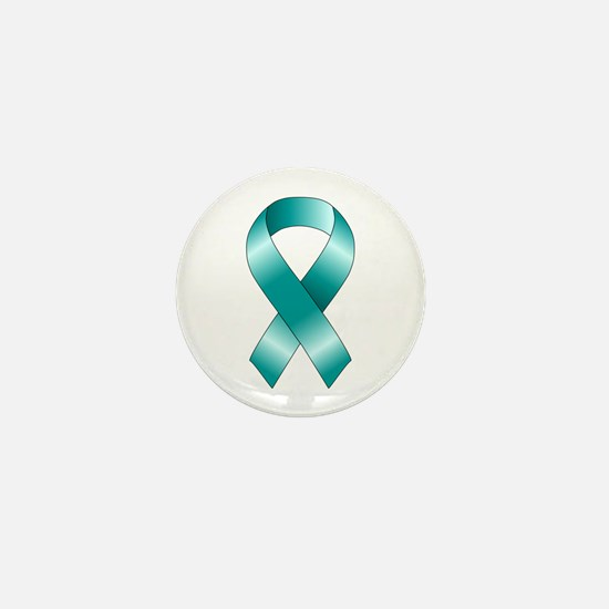 Teal Ribbon Mini Button