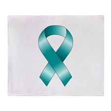Teal Ribbon Throw Blanket
