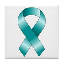 Teal Ribbon Tile Coaster