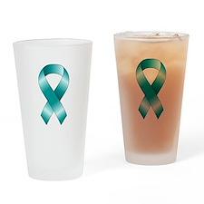 Teal Ribbon Drinking Glass