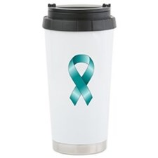 Teal Ribbon Travel Mug