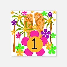 Luau 1st Birthday Creeper Square Sticker