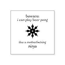 Beer Pong Ninja Square Sticker