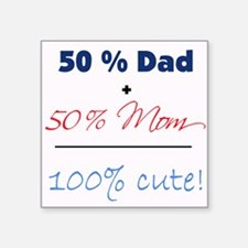 """100% Cute"" - Blue Square Sticker"