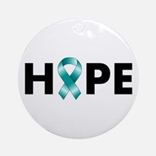 Teal Ribbon Hope Ornament (Round)