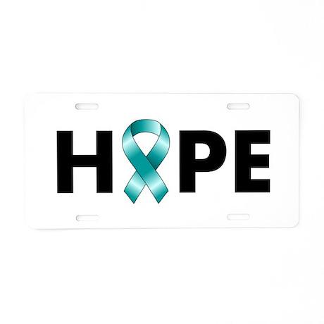 Teal Ribbon Hope Aluminum License Plate