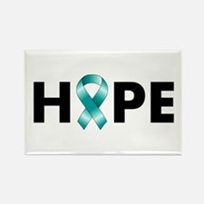 Teal Ribbon Hope Rectangle Magnet
