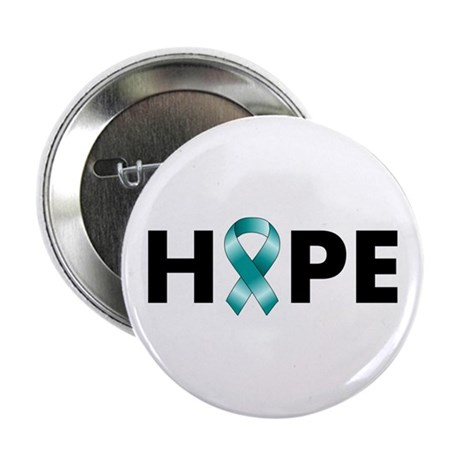 "Teal Ribbon Hope 2.25"" Button"
